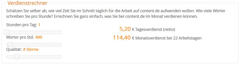 Verdienst Rechner content.de 2