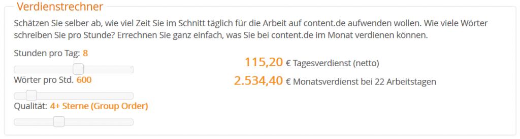 Verdienst Rechner content.de