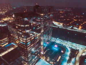 Gebäude beleuchtet Nacht
