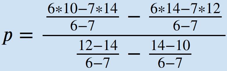 Eingesetzte Werte Formel Gleichgewichtspreis aus zwei Punkten