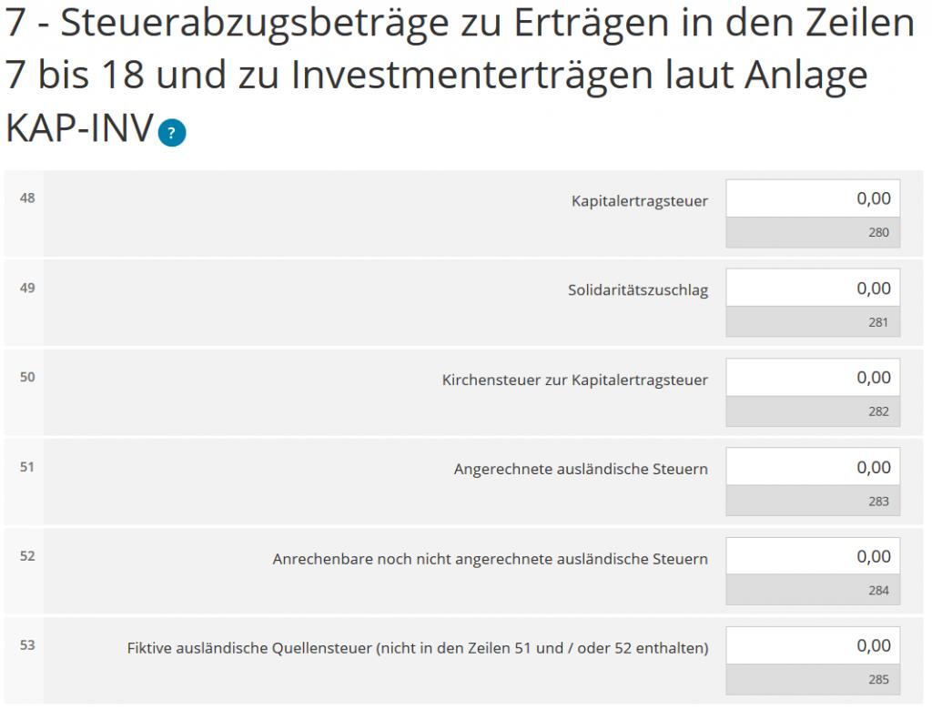 7 - Steuerabzugsbeträge zu Erträgen in den Zeilen 7 bis 18 und zu Investmenterträgen laut Anlage KAP-INV