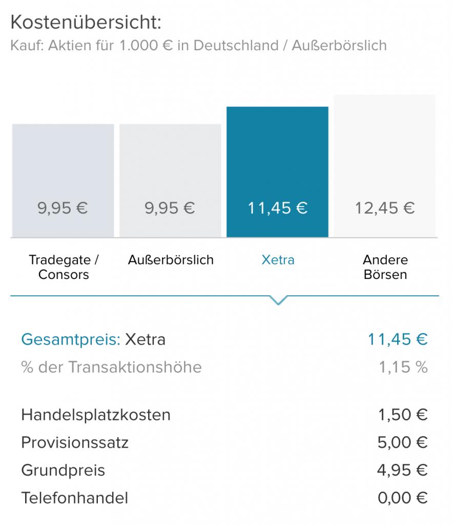 Consorsbank bietet einen günstigen XETRA Handel.