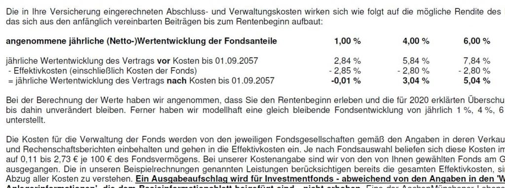 Effektivkosten – Fondsgebundene Rentenversicherung AachenMünchener