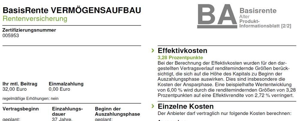 Effektivkosten – Rürup Basisrente VERMÖGENSAUFBAU AachenMünchener