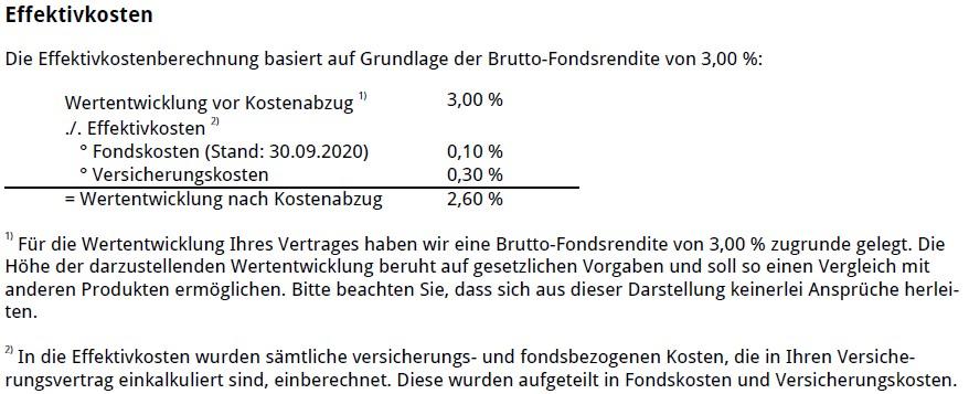Effektivkosten der Rentenversicherung der Nico Hüsch GmbH