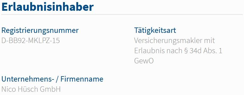 Nico Hüsch GmbH im Vermittlerregister als Versicherungsmakler