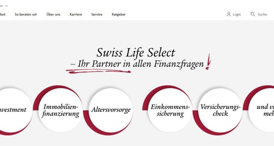 Swiss Life Select Website Startseite