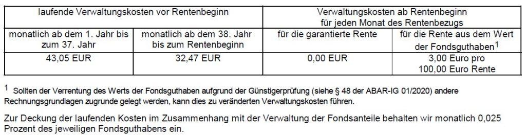 Debeka Rentenversicherung + 2.000 € BU-Rente bei BU Verwaltungskosten