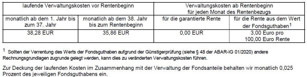 Debeka Rentenversicherung + Beitragsbefreiung bei BU Verwaltungskosten