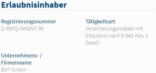 BVF GmbH im Vermittlerregister als Versicherungsmakler