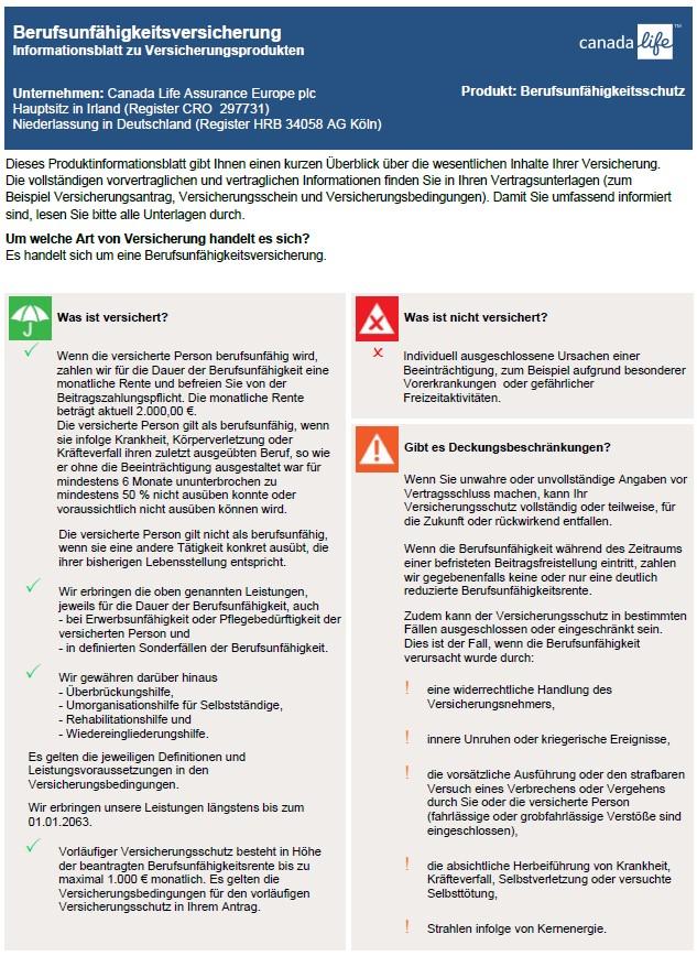 Berufsunfähigkeitsversicherung der Canada Life bei Königswege