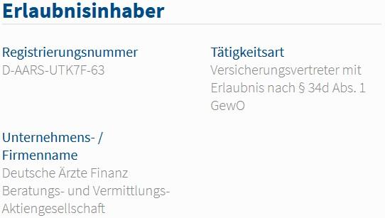 Deutsche Ärzte Finanz im Vermittlerregister als Versicherungsvertreter