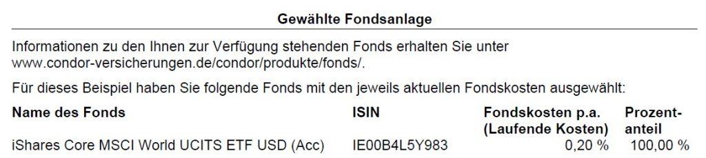 Fondsauswahl bei der Condor-Rentenversicherung Congenial Privat