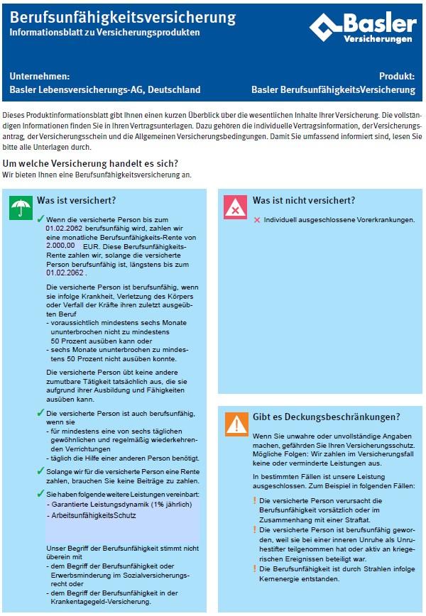Informationsblatt zur Berufsunfähigkeitsversicherung der Basler