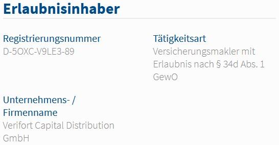 Verifort Capital Distribution GmbH im Vermittlerregister als Versicherungsmakler