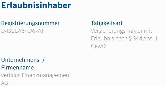 Verticus Finanzmanagement AG im Vermittlerregister als Versicherungsmakler