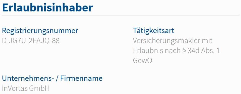 inVertas GmbH im Vermittlerregister als Versicherungsmakler