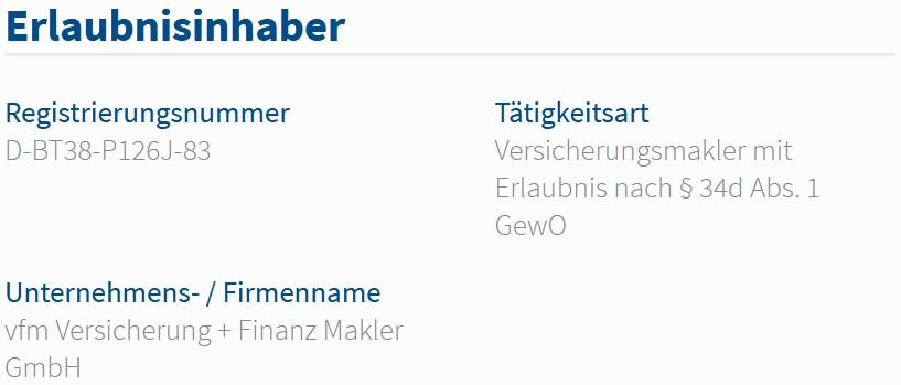 vfm Versicherung + Finanz Makler GmbH im Vermittlerregister als Versicherungsmakler