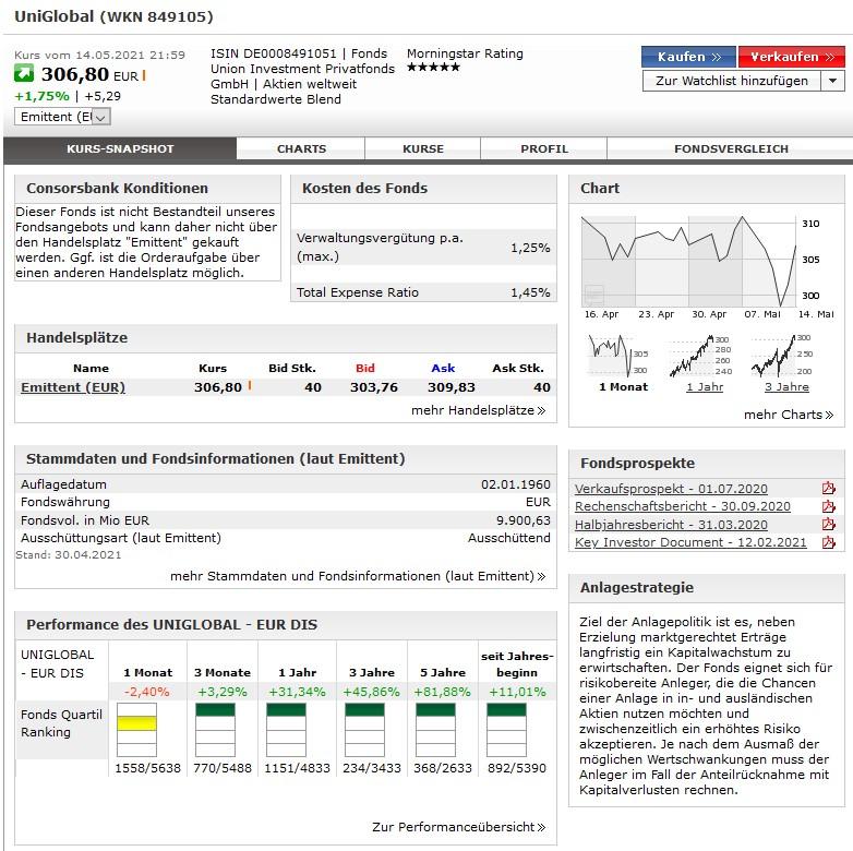 UniGlobal bei der Consorsbank