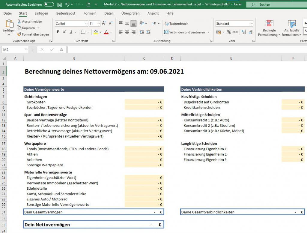 Excel-Download für das Nettovermögen im Finanzfluss Campus