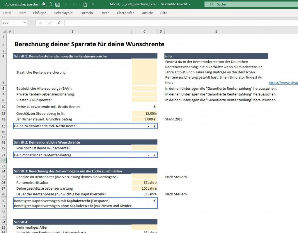 Excel-Download für die Wunschrente im Finanzfluss Campus