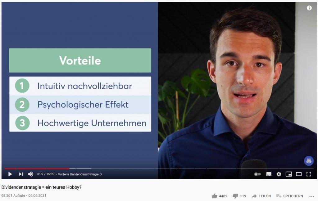 Finanzfluss späteres Video auf Youtube