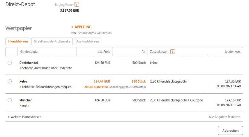 ING DiBa Direkthandel Apple Aktie
