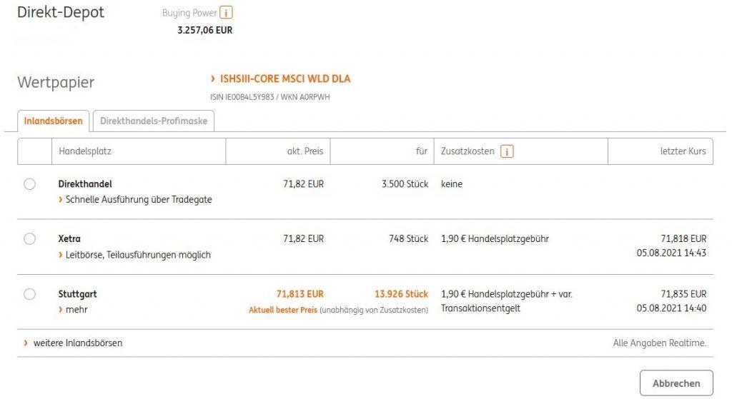 ING DiBa Direkthandel MSCI World ETF iShares