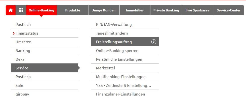 Online Banking Freistellungsauftrag einsehen bei der Sparkasse