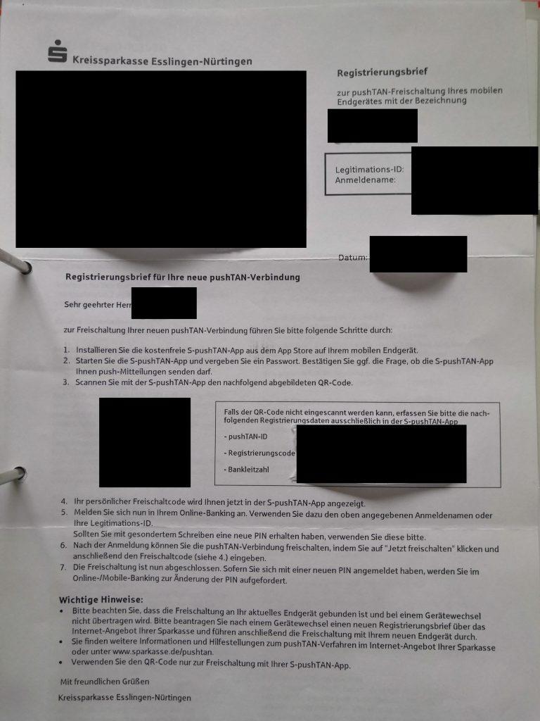 Brief von der Sparkasse für pushTAN App