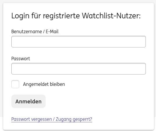 ING DiBa Watchlist Login für registrierte Watchlist-Nutzer
