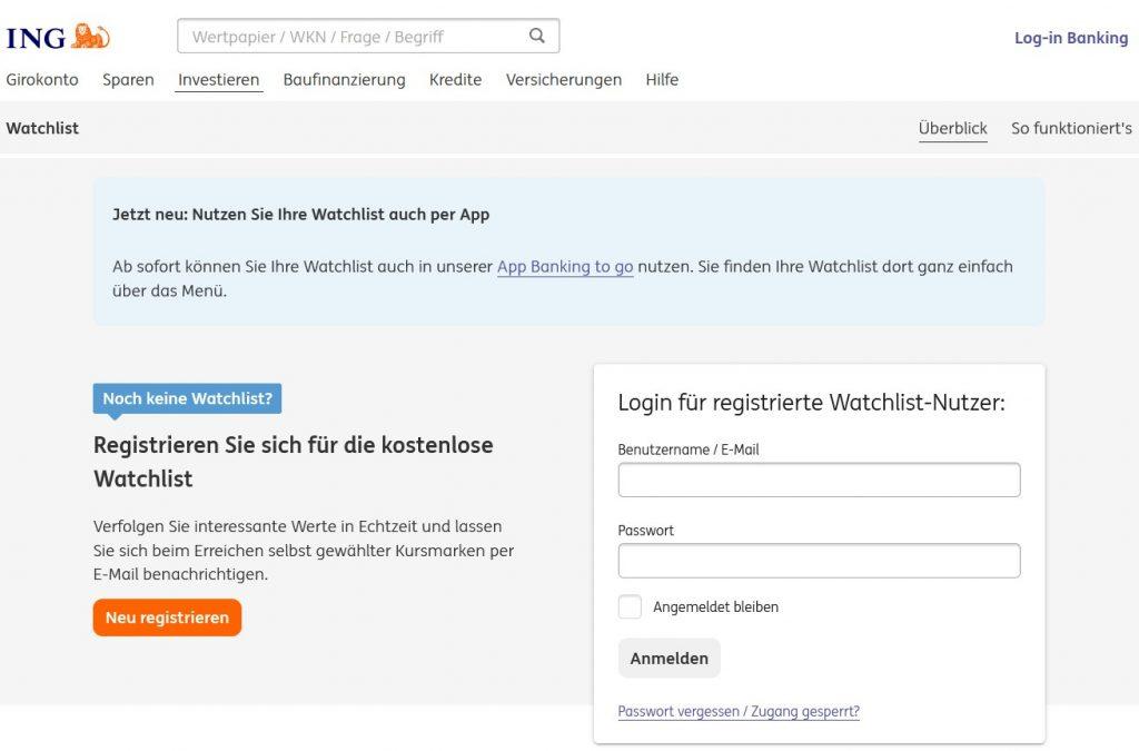ING DiBa Watchlist Registrierung oder Login